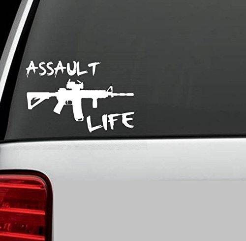 D1025 Assault Life Booter Ak47 M16 M4 Decal Sticker for Car Truck SUV Van Window Wall Laptop Salt Gun Rights Second Amendment