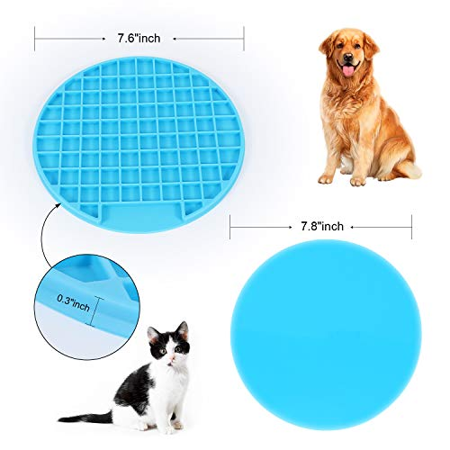 WERFORU Buddy Treat Mat, Dog Lick Pad With Suction, Slow Feeder Lick Mat, Promote Health/Fun Feeder Licking Mat For Pet Training and Grooming 2 Pack (Blue & Green)