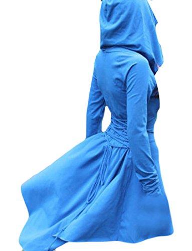 Felpa Azzurro Felpa Delle Donne Domple Vestito Manica Lunga Coulisse Irregolari Con 6wxapPXqg