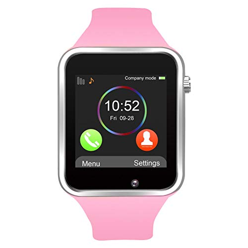 Aeifond Smart Watch Bluetooth Smartwatch Touchscreen Smart Wrist Watch Fitness Tracker with Camera Pedometer SIM SD Card Slot Compatible iPhone iOS Samsung Android for Men Women Kids - Watch Player Ladies Pink