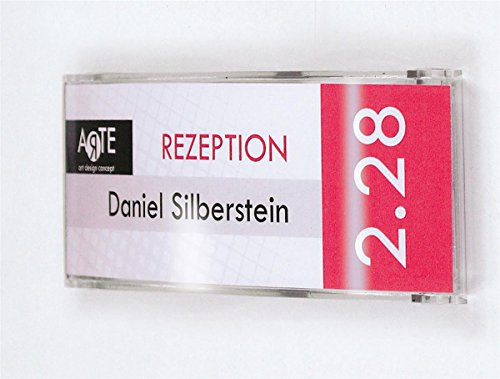 """Set of 2 - Indestructible Wall Mounted Name Plate for 5.8"""" x 2"""" Customized Signs - Clear Polycarbonate Construction with Hinged Front Panel"""