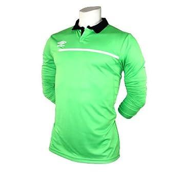 Umbro-Camiseta de fútbol con mango largo, color verde fluorescente, talla M/