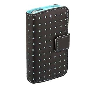 Dot carpeta del tirón del portatarjetas de piel cubierta de la caja del filtro para el iPhone 4 4S Opción: Azul
