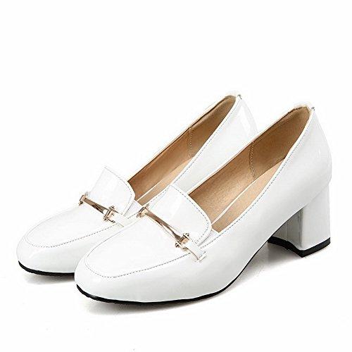 Verni à Couleur Chaussures VogueZone009 Correct Femme Blanc Carré Talon Tire Unie Légeres wxZSB
