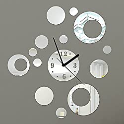 DIY Wall Clock Made of Acrylic Material, Asymmetric Rings and Circles, Looks Like Mirror, Modern Design, for Home Living Room Bedroom Kitchen Baby Child Novelty Luxury Crystal Wall Silent Watch Extra Large, New, Silver