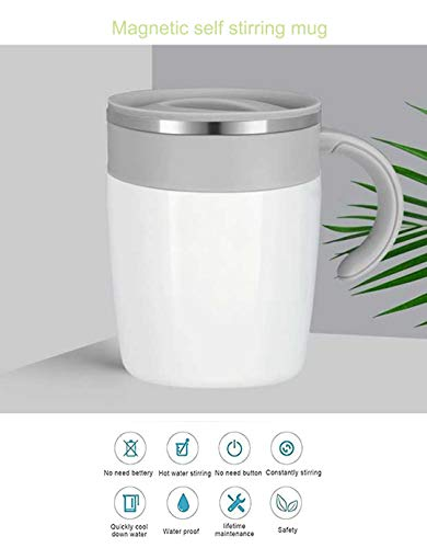 Flyteeth 300ml Self Stirring Coffee Mug- Intelligent Automatic Temperature Control Waterproof Hot Energy Stirring Innovative Coffee Cup Automatic Mixing Cup,white (White)