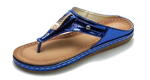 Plage Bleu Tongs Smajong Strass Clip De Cuir Bohême Été Chaussons Flops Flip Plates Sandales Mode Femme Toe thBCrxQds