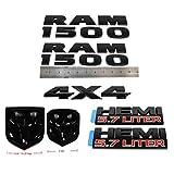 Set OEM New 1500 Emblem Grille Rear Tailgate Badge 5.7 Liter Emblem 3D Nameplate Replacement for 1500 2013-2018 Black 7pcs