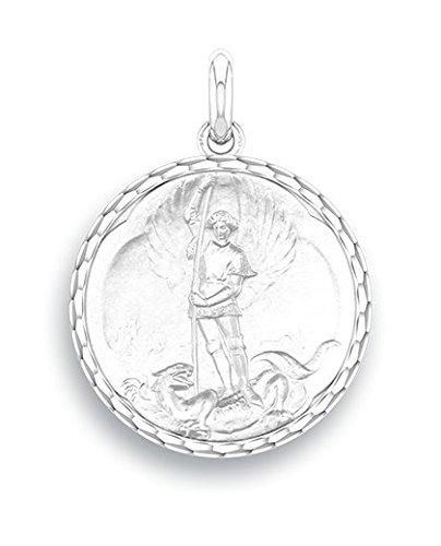 SAINT MICHEL - Médaille Religieuse - Or Blanc 9 carats - Diamètre: 17 mm - www.diamants-perles.com SGKL328069.G-9