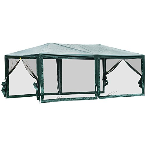 Outsunny 10' x 20' Gazebo Canopy Cover Tent with Removable Mesh Side Walls - Green BBQ Shelter Durable (Mesh Canopy Kit)