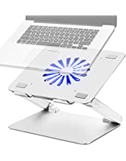 SOUNDANCE Adjustable Laptop Stand Laptop Cooling Pad with Fan USB 3.0 Hub Compatible with 10 to 17.3 Inches Notebook Computer, Ergonomic Computer Riser for Desk, Aluminum Silver LS2