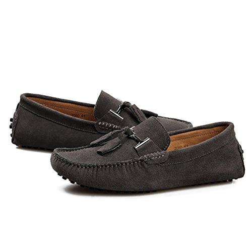 Baymate Zapatos Casuales Conducción Coche Mocasines Con Borlas Para Hombre Gris