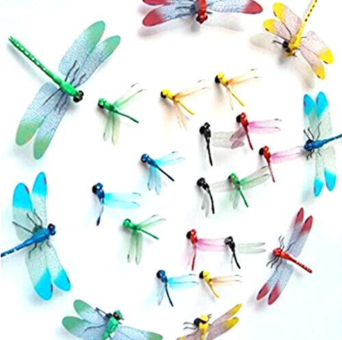 Chunney 8.5cm and 14.5cm Mixed Colorful Magnet Dragonfly Room Decorations (4pcs big+10pcs small)