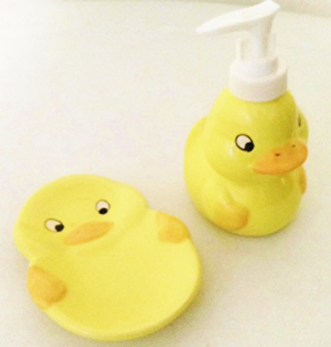 Yellow Rubber Ducky Duck Soap Lotion Dispenser + Soap Dish
