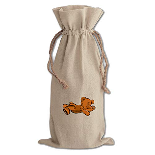 Teddy Bear Lying On Stomach Cotton Canvas Wine Bag, Cotton Drawstring