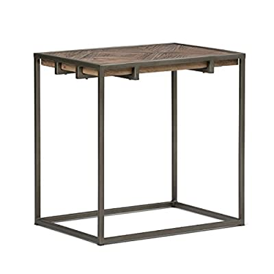 Simpli Home AXCAVY-04 Avery Solid Aged Elm Wood and Metal 14 inch Wide Rectangle Modern Industrial Narrow End Table in Distressed Java Brown Wood Inlay - Handcrafted with care using Elm Hardwood, Plywood and Metal Hand-finished Distressed Java Brown Wood Inlay. The beauty of wood makes every piece of furniture unique. Patterned inlay wood top - living-room-furniture, living-room, end-tables - 41 mBYT981L. SS400  -