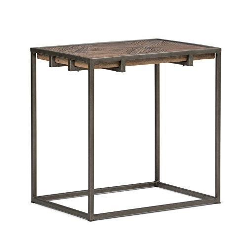 Simpli Home AXCAVY-04 Avery Solid Aged Elm Wood 14 inch Wide Modern Industrial Narrow End Table in Distressed Java Brown Wood Inlay