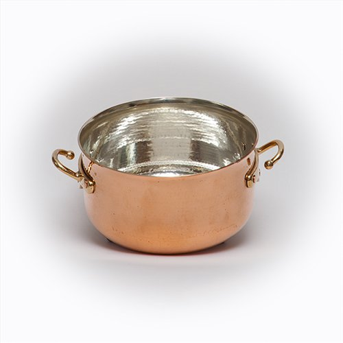 "Atlas Soy Turkiye Copper Stew Soup Pot Dutch Oven Hammered Thick Copper Silver Lined (3"" / 7 cm MICRO pot)"