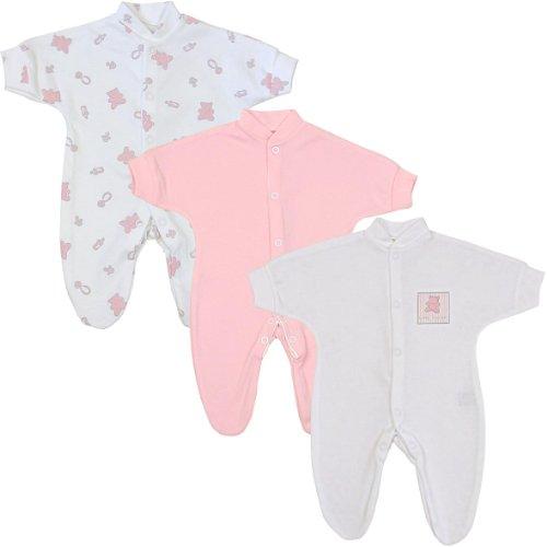 Preemie Baby Clothes Pack of 3 Sleepers / Footies 1.5 - 7.5lb Pink Teddy P3