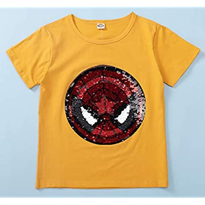 Flip Sequins for Boys Kids Girls Magic Sequin Cotton T-Shirt Tops 3-8 Years (Size 3-8): Clothing