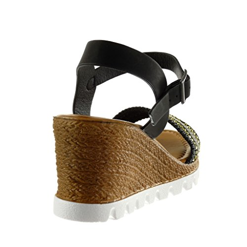 Angkorly Women's Fashion Shoes Sandals Mules - Platform - Sneaker Sole - Thong - Braided - Rhinestone Wedge Platform 7 cm Black