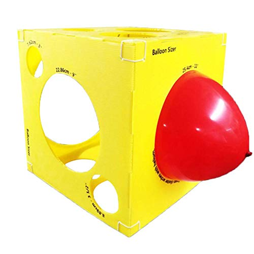 (Ksruee Balloon Sizer Box (pop-up) Balloon Measurement Tool for Balloon Arch Kit, Balloon Rings, Balloon Tower Decoration for Birthday Party Wedding Party Event Decoration-Yellow)