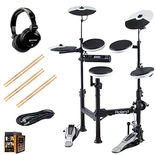 Roland PK TD-4KP Portable Electronic Drum Set Package with Gemini DJX-07 Headphones, 3 Pairs of Sticks, Aux Cable, and Free Mobile Holder