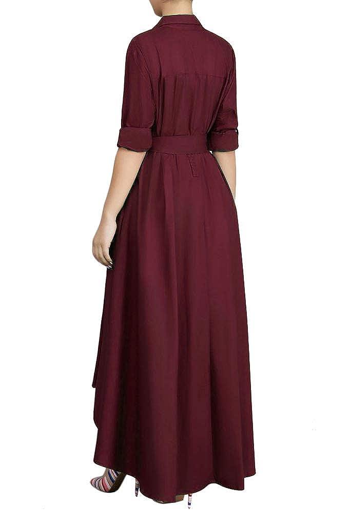 Playworld Women Elegant Long Maxi Dress Button Down Collar Belt T Shirt Dresses Pockets