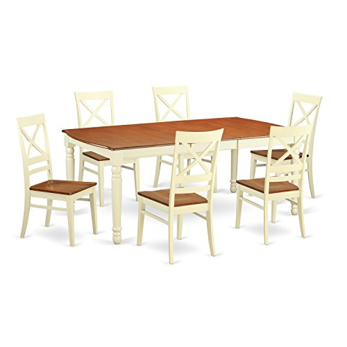 East West Furniture DOQU7-WHI-W 7 Piece Kitchen Dinette Table and 6 Dining Room Chairs Set