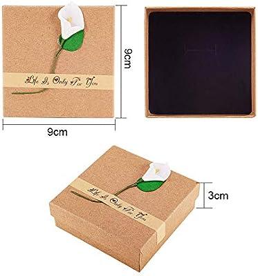 NBEADS Caja de Papel, 12 Paquetes 9X9X3 cm Caja de Cartón Cuadrada de Burlywood con Esponja para Pendiente Pulsera Joyería Manualidades Almacenamiento: Amazon.es: Hogar