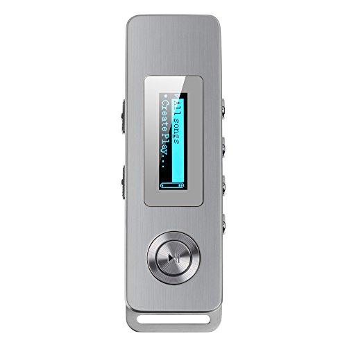 AGPTek RP01 8GB MP3 Player 30 Stunden Wiedergabe, Geräuschminimierung Mini Diktiergerät, Digital Voice Recorder, Silber