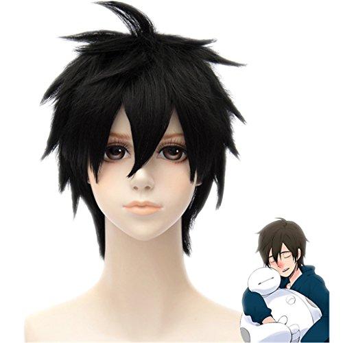 - MSHUI Anime Movie Big hero 6 Hiro Hamada Costume Cosplay Wig Black Short Hair