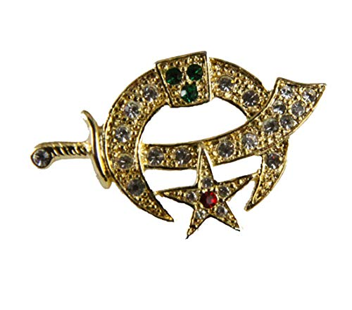 6030727 Shrine Scimitar and Crescent Star Lapel Pin Stunning Rhinestones Shriner Symbol