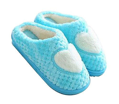 Women Heart Slippers Plush Cozy Indoor Slippers Blue Winter Slippers Fuzzy 11qPwUr65x