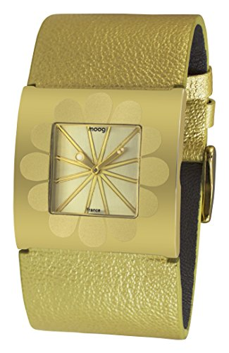 Moog Paris Petals Women's Watch with Gold Dial, Champagne Strap in Genuine Leather - M41742-002