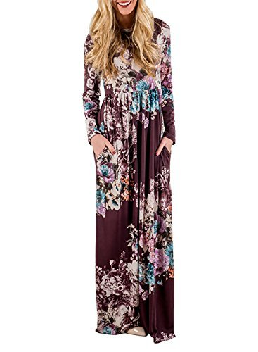 ZESICA Womens Floral Print Long Sleeve Empire Waist Full Length Pockets Maxi Dress,Plum (Floral Plum)