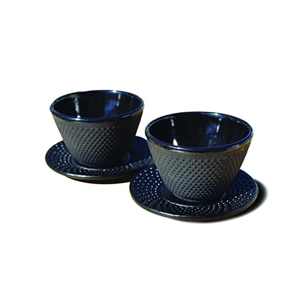 Set of 2 Old Dutch International Cast Iron Cup//Saucer Matte Black 4 oz