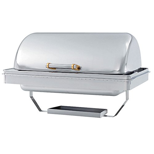- Vollrath 46258 9 Qt. New York, New York Drop-In Retractable Dripless Chafer Full Size with Brass Trim
