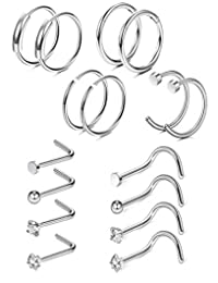 Thunaraz 16 Pcs 20G Nose Rings Hoops Stainless Steel Screw Stud Rings Piercing Jewelry CZ Inlaid