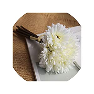 Artificial Flowers 7 Heads/Bouquet African Chrysanthemum Flower Wedding Flower Artificial Flower Silk Flower Decoration for Home Table Accessorie,White 1 Bouquet 113