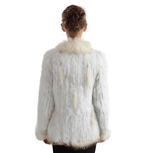 chaquetas de conejo Vemolla cuello piel hecho de de punto piel de Real abrigos Blanco casuales mapache chalecos de 5xYHpZqY