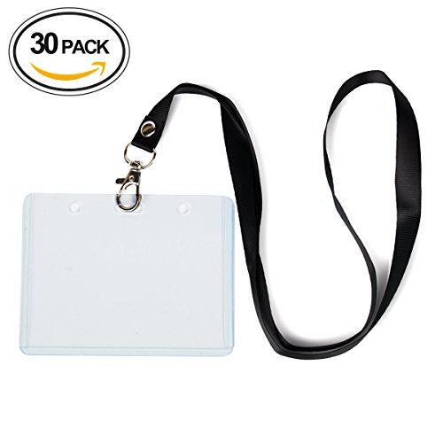 30 Pcs Horizontal ID Card Badge Holder With 0.6in Office ...