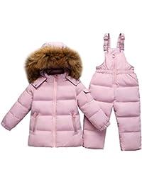 Girls Snowsuit Set 2-Piece Winter Puffer Jacket and Snow Pants Ultralight Skisuit Set Pink 18-24 Months