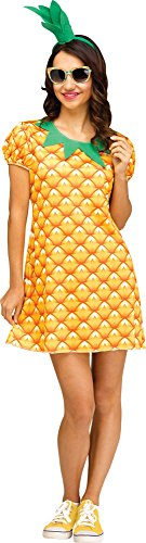 Sports Girl Halloween Costumes (Fun World Women's Pineapple Flirty Fruit, Yellow, S/M Size)