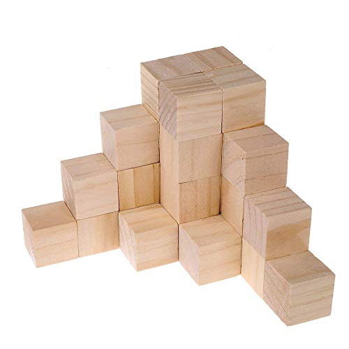 Supla 30pcs 1.5 Inch - Natural Solid Wood Square Blocks Wood Cube Blocks- For Puzzle Making, Crafts, And DIY Projects (30pcs)