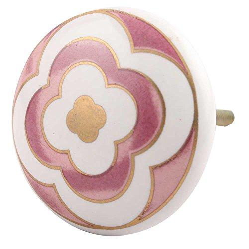 IndianShelf Handmade 6 Pieces Ceramic Pink Drawer/Dresser Knobs Pulls (Free Time 6 Drawer Dresser)