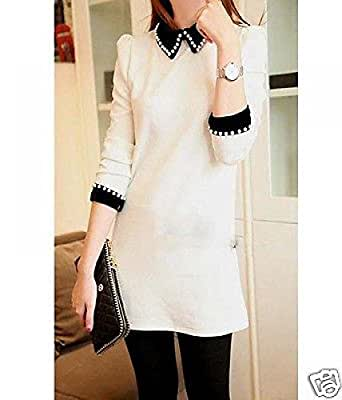 Womens Pearl Cuff Collar Puff Zipper Back Long Sleeve Straight Dress