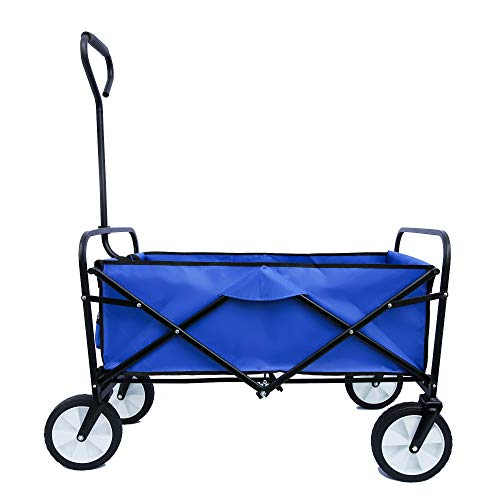 Heavy-duty Cart Wagon Foldable Cart with Powder Coated Metal Frames 600D Polyester Fabric Adjustable Handles - Shopping Grocery Garden Tools Hardware Tools - Home Office Picnic Beach Park - (Blue)