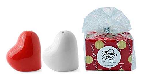 Salt and Pepper Shakers Set Heart Ceramic Gift Noverlty with Adjustable Holes (Set of 2) Red White Limited Edition(THANKYOU LABEL)