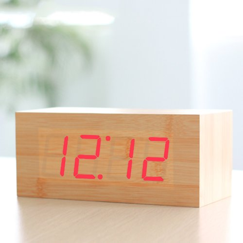 HITO™ Wood Grain LED Alarm Clock - Time Temperature Date - Sound Control - Latest Generation (Red, 8.27